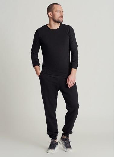 People By Fabrika Likralı Uzun Kol Tişört Siyah